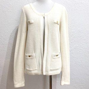 Banana Republic Cream Collarless Sweater Cardigan
